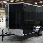 front of black single axle trailer