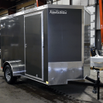 front of grey single axle trailer