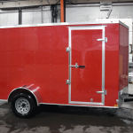 side of red trailer