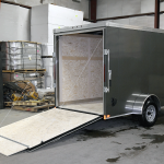 Open rear of single axle contractor grade trailer