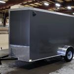 side of gray single axle contractor grade trailer