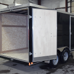 rear view of black 7' x 14' Tandem Axle trailer