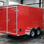Back end of red standard duty trailer