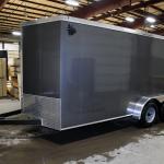 Gray tandem axle trailer